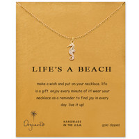 Wholesale Cards Life - Dogeared Necklaces With Card Gold Silver Color (life is a beach) Hippocampus pendant choker necklace