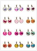 bronz kelebekler toptan satış-Ücretsiz Kargo 20 pair Mix Renk Vintage Takı ile Bronz Kaplama Kelebek Şekilli Cam Cabochon Küpe Kadınlar için Damızlık Hediye