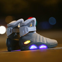 Wholesale Mag Back Future - Led Sneakers Marty Back to the futu LED Shoes Back To The Future Glow Dark Gray Black Mag Marty McFlys Sneakers Top quality Basketball Shoes