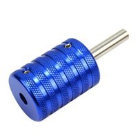 Wholesale 35mm Grip - Wholesale-Professional 35mm Blue Aluminum Alloy Knurling Tattoo Grip with Back Stem Tube For Tattoo Machine Gun Needles Supplies Body Art