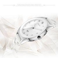 Wholesale Easy Fold - Luxury White Ceramic Water Resistant Classic Easy Read Women Dress Wrist Watch Top Quality Lady Rhinestone watch