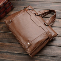 Wholesale Vintage Leather Briefcase Laptop - 2017 High Quality Vintage PU leather Men Bag Large Capacity Business Men's Crossbody Laptop Bag Briefcases Luxury Men Messenger Bags SY019