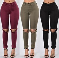 Wholesale Wholesale High Waist Spandex Pants - Wholesale- Red Army Green Black Women Pencil Stretch Jeans Pants Woman Ripped Denim Skinny Jeans Pants High Waist Jeans Trousers for women