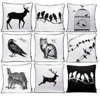 almohadas de pájaro blanco negro al por mayor-Animales Pájaro ciervo ciervo cebra gato Fundas de cojines Moderno blanco y negro Pájaros Cage Bosquejo Funda de cojín Sofá decorativo Throw Pillow Case