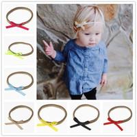 Wholesale nylon elastic ribbon - Newborn Baby Nylon Elastic Headbands Bow Kids Grosgrain Ribbon Bowknot DIY Hairbands Girls Children Hair Accessories Headwear KHA194