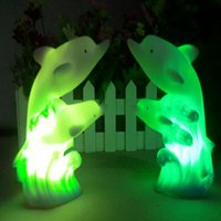 Wholesale Led Lights For Table Decorations - Wholesale- Colorful Novelty 3D Cartoon Led Night Light 7 colors dolphin lamps Creative Decoration LED Table Lamp Night Lamps for Bedroom