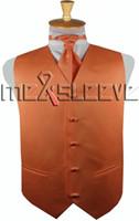 Wholesale orange ascot tie for sale - Group buy hot sale solid orange discount wedding vest vest ascot tie cufflinks handkerchief
