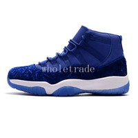 Wholesale Canvas High Tops Mens - [with box] Mens air retro 11 XI Velvet Heiress Blue basketball shoes High top heiress retro 11 air retro 11s sneakers size 7-13
