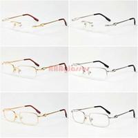 Wholesale Titanium Gold Rimless Eye Frames - Men Women Brand Designer 2016 Filament Rimless Eye glasses Frames Gold Silver Metal Optical Frames Male Female Glasses