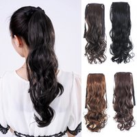 Wholesale Tie Ponytail Hairpiece - Tie-style Wigs and Wigs Tailored Ponytail Synthetic Long Curly Wig Mix Clolor Make Up Hairpiece Free Shipping