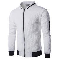Wholesale black diamond jacket - 2017 Hoodies Men Casual Hoodies Hip Hop Mens Brand Diamond lattice Leisure Zipper Jacket Hoodie Sweatshirt Slim Fit Men Sportswear
