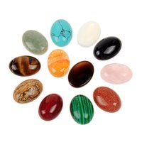 Wholesale Tigers Eye Oval Stones - AAA 13*18mm Mixed Random Jasper Tiger\'s Eye Healing Rose Quartz Crystal Beads Oval Cabochon CAB Flatback Semi-precious Gemstone Ring Face
