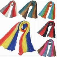 Wholesale Crepe Shawl Scarf - (50-55)*160cm 2017 Newest Fashion Voile Women Scarf Crepe 3 Colors in one Stitching Soft Scarf Shaw 3 in 1 Summer Autumn Winter Spring Beach