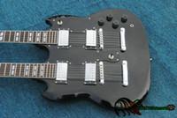 Wholesale Electric Guitar Double Neck Black - Black Custom Shop 1275 Double Neck Electric Guitar 6 12 strings Wholesale Guitars