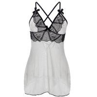 Wholesale Sexy Adult Babydoll - Plus size Adult Lingerie Sexy Underwear For Women Enchanting Bliss Babydoll Black lace ovelay on top front lace up back Chemise S-6XL I2701