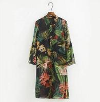Wholesale Woman Flower Print Shirt Vintage - 2017 new Women Long Blouse Vintage Green Rain forest Flower Print Mid Cardigan Kimono Shirt Ladies loose Long Sleeve Shirt dress