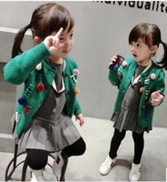 Wholesale Kids Girl Wool Sweater - 2017 New arrival Children clothing girl casual sweater spring and Autumn girl cardigan sweater green color kids sweater Free shipping