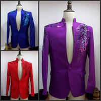 Wholesale Stage Purple Suit - (Jacket +pants+tie) Suit male costume Purple sequined male MC host dress stage program costume male singer wedding dress suit