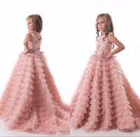 Wholesale Gowns For Wedding Occasions - Blush Pink Flower Girls Dresses Ruched Tiered Puffy for Weddings Birthday Party Gowns Special Occasion Pageant Dresses Sweep Train
