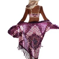 Wholesale sexy beachwear clothes for sale - Hot Sale Summer tassel print chiffon blouse long kimono cardigan beach cover ups casual sexy beachwear shirt women clothing