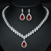 Wholesale Ruby Grades - Top grade platinum plated brilliant ruby red AAA CZ diamond luxury engagement and wedding jewelry sets for brides