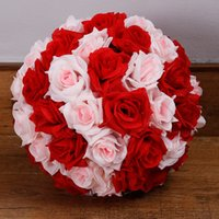 Wholesale 12 Inch Rose Kissing Balls - CHEAPEST!! 30cm 12 Inch Wedding Silk Pomander Kissing Ball flower 107 Colors Rose Ball Artificial Flower Wedding Garden Market Decoration