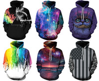 Wholesale Digital Printed Galaxy - 2017 Christmas Santa NWT Winter Autumn Galaxy Print Punk Men Fashion 3D Print Hoodies With Hat Pocket Coat Digital Gothic Print Pullovers