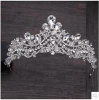 Wholesale Royal Korean Princess - European style high-end luxury bridal crystal crown wedding dress south Korean princess royal crow