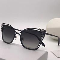 ingrosso pietre dell'occhio del gatto-SK0163 Luxury Fashiong occhiali da sole con diamante pietra UV protezione donne progettista del marchio Vintage Cat Eye Frame Top Quality Vieni con custodia