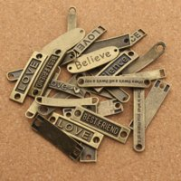 20pcs / lot Styles mélangés Antique Bronze Alphabet connector Meilleur ami Love Believe Peace Dream charms pour bricolage Bracelets F2675