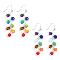 Wholesale Earrings Colorful Stones - 6mm Agate Amethyst Stone Beads colorful Chakra Drop Earrings Yoga Reiki Healing Stone earrings for women girls 2pcs=1 pair