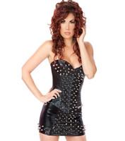 ingrosso biancheria intima del corsetto-Punk Rock Donna Abiti sexy Rivetto Gothic Corset Set Senza spalline Bustier Mini Skirt Nightclub Costume Novità Lingerie Set