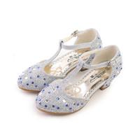 Wholesale Toddler Shoes Rhinestones - Girls Leather Shoe spring children fashion rhinestone party shoe toddler pu leather heeled shoe baby girl glitter mary jane