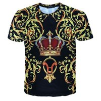 Wholesale Carved Crow - 2017 summer tops Palace men's t shirt hiphop fashion oversized tee Hight quality 3D print Golden crown carved lines O-neck jerseys