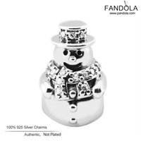 Wholesale Snowman Gifts Make - Wholesale- Christmas Gift DIY 925 Sterling-Silver-Jewelry Snowman Clear CZ Charm Beads for Jewelry Making Fits European Charms Bracelet