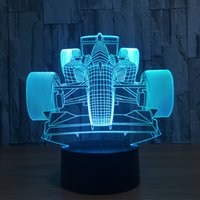 Wholesale Diy Led Light Box - 3D Racing Car LED Illusion Lamp Night Light 7 RGB Lights DC 5V USB Powered AA Battery Bin Dropshipping Gift Box