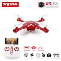 Wholesale Rc Helicopter Micro - SYMA X5UW RC Drone 720P WIFI FPV Camera Helicopter Height Hold One Key Land 2.4G 4CH 6Axis RC Quadcopter With 4GB Micro SD Card