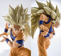 Wholesale Gold Battle - NEW hot 20cm dragon ball Super saiyan three Battle damage Edition Son Goku Kakarotto action figure toys collection christmas toy