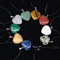 Wholesale Lapis Heart Pendant - Fashion Hot heart shape necklace leather rope multicolor natural stone lapis lazuli &tiger eye &pink agate Crystal pendant jewelry