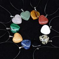 ágata em forma de coração venda por atacado-Moda Hot coração forma colar corda de couro multicolor pedra natural lapis lazuli olho de tigre ágata rosa de cristal pingente de jóias
