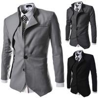 Wholesale unique design suits - Wholesale- 2014 new fashion spring Autumn College style Unique Irregular design suit men Business casual Slim fit suit for men M-2XL