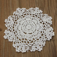 "Wholesale Lace Table Pad - Wholesale- 8"" Round Handmade Crochet Lace Floral Doilies Vintage Knit Cup Coasters Tableware Placemat Pad Wedding Table Decor Cloth Mat"