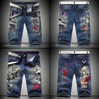 Wholesale Trend American - Super Good Quality Men's Personality Trend Printing Dragon Denim Shorts European and American Men's Pants Waist Pants for Summer HOT!