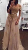Wholesale Green Sweetheart Empire Prom Dress - Champagne Lace Beaded Arabic Evening Dresses Sweetheart 2017 Off the Shoulders A-line Tulle Prom Dresses Vintage Cheap Formal Party Gowns