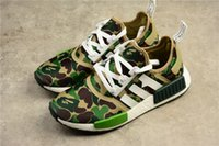Wholesale NMD R1 X Bapes Green Camo Real Boost Outdoor Running Shoes Men Women Original quality BA7326 SIZE With Original box
