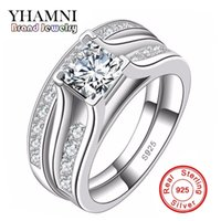 YHAMNI Luxo Sólido 925 Sterling Silver Bridal Wedding Ring Set Aniversário Vintage Style 1 Carat Diamond Engagement Ring Set R148