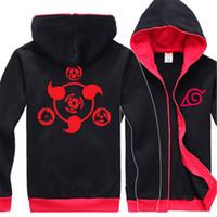 Wholesale naruto sasuke jacket online - Naruto Hoodie New Anime Uchiha Sasuke Cosplay Coat Uzumaki Anime Naruto Jacket Winter Men Zipper hoody ninjia Sweatshirts