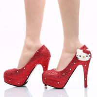 Wholesale Kitten Heels Size 11 - 2017 Red Rhinestone Heels Crystal KT Wedding Dress Shoes Sparkling Nighclub High Heel Shoes Bridal Prom Pumps Plus Size