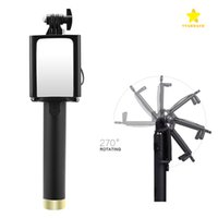 Wholesale android stick remote - Wired Selfie Stick Portrait Battery Free Monopod Extendable Bluetooth Remote Shutter for iOS and Android Smartphones with Package