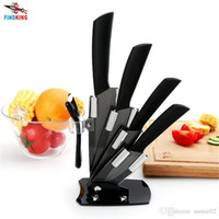 "Wholesale High Quality Kitchen Knife Sets - D032 High quality brand black blade kicthen ceramic knife set 3"" 4"" 5"" 6"" inch + peeler +Acrylic Holder stand Chef Kitchen knife"